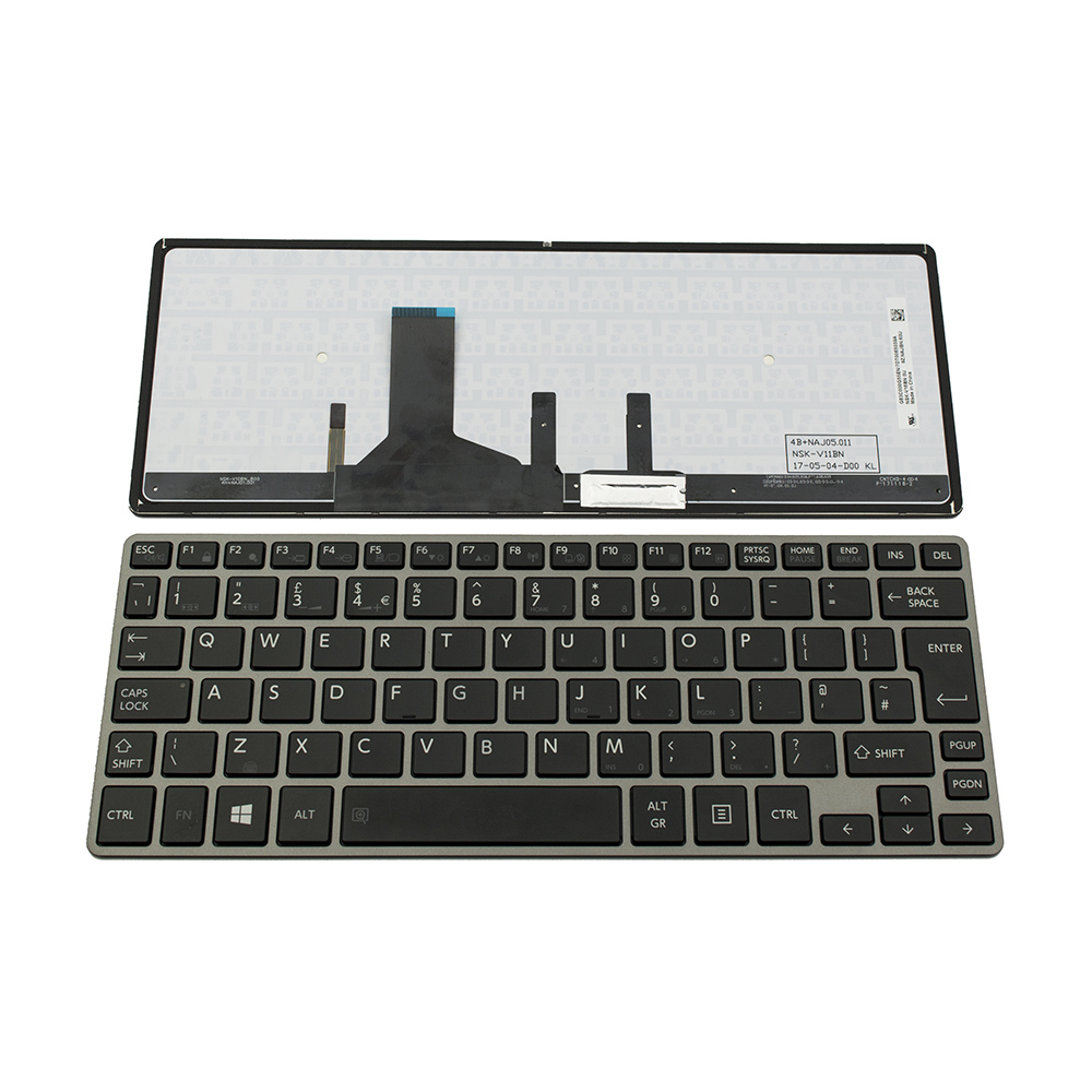 Клавиатура за Toshiba Satellite Z30 Z30-B GRAY FRAME BLACK BACKLIT UK